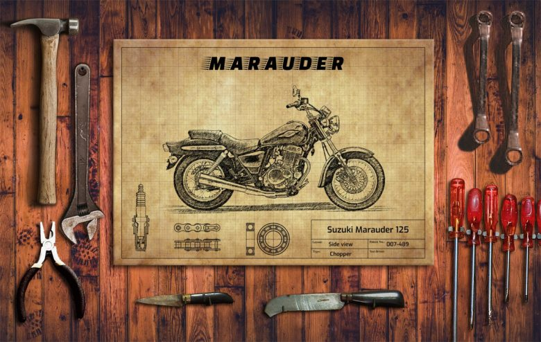 Metalowy plakat do garażu Suzuki Marauder 125
