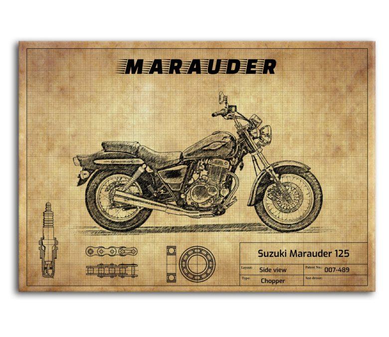prezent dla motocyklisty plakat z Suzuki Marauder 125