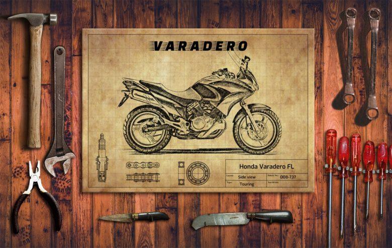Metalowy plakat do garażu Honda Varadero FL