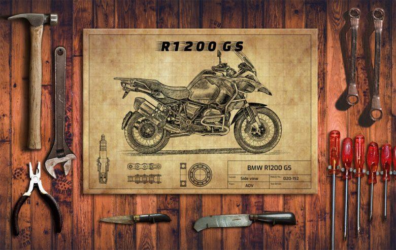 Metalowy plakat do garażu BMW R1200 GS