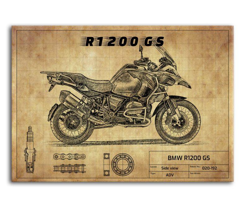 prezent dla motocyklisty plakat z BMW R1200 GS