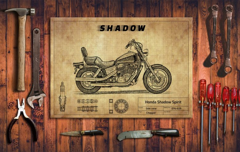 Metalowy plakat do garażu Honda Shadow Spirit