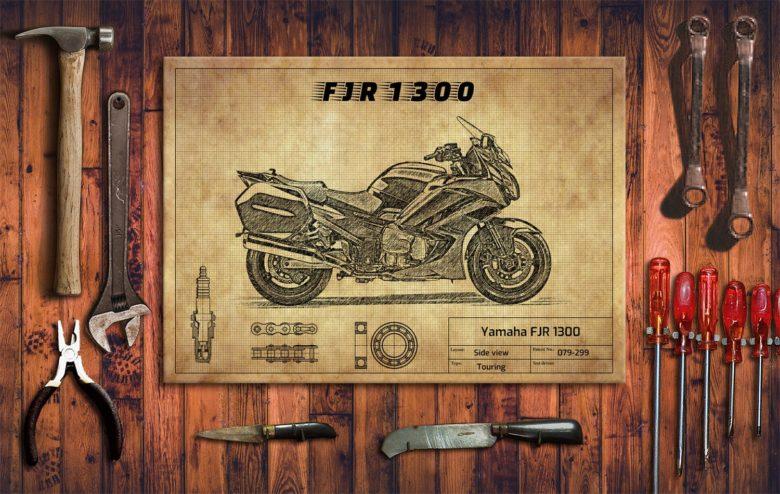 Metalowy plakat do garażu Yamaha FJR 1300