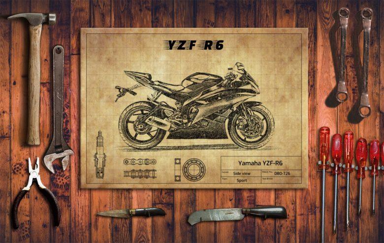 Metalowy plakat do garażu Yamaha YZF-R6