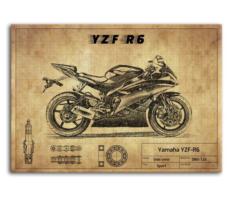 prezent dla motocyklisty plakat z Yamaha YZF-R6