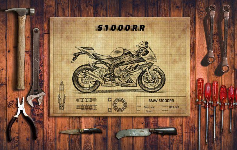 Metalowy plakat do garażu BMW S1000RR