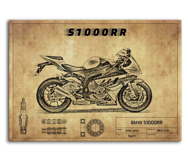 prezent dla motocyklisty plakat z BMW S1000RR