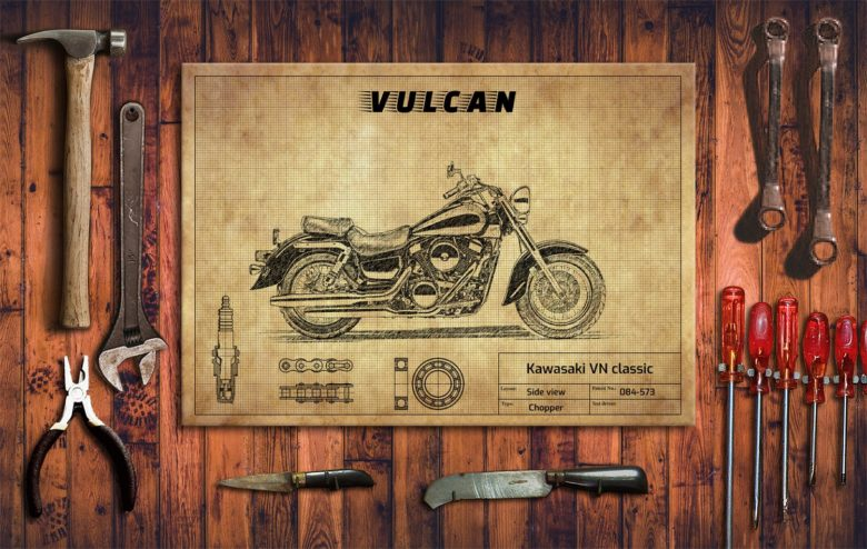 Metalowy plakat do garażu Kawasaki VN Classic 1500