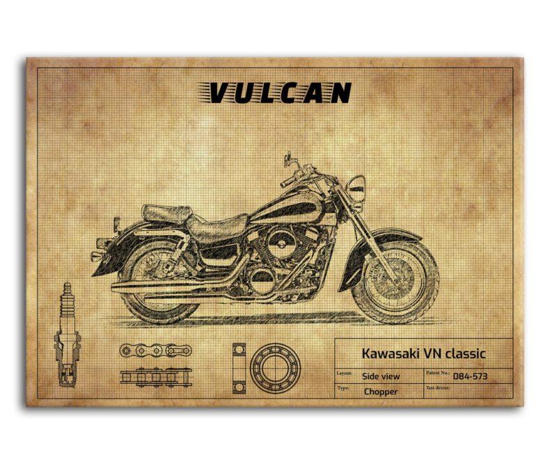 prezent dla motocyklisty plakat z Kawasaki VN Classic 1500
