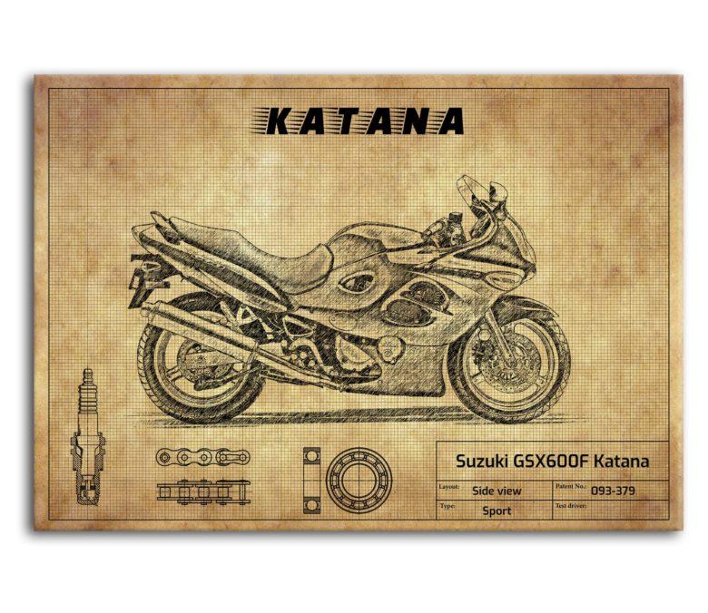 prezent dla motocyklisty plakat z Suzuki GSX600F Katana