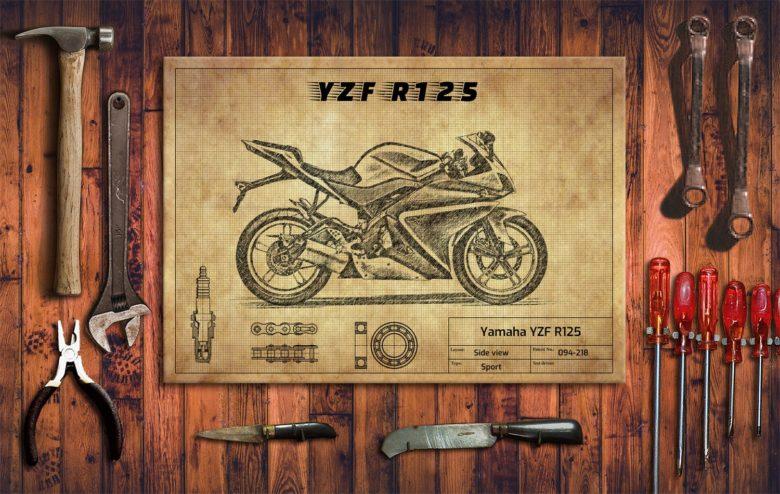 Metalowy plakat do garażu Yamaha YZF R125