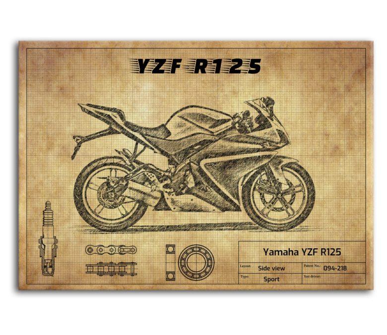 prezent dla motocyklisty plakat z Yamaha YZF R125