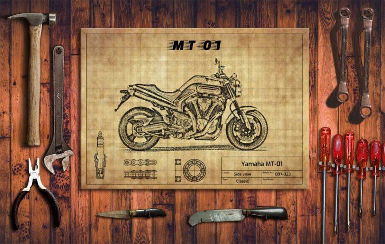 Metalowy plakat do garażu Yamaha MT-01