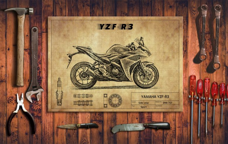 Metalowy plakat do garażu YAMAHA YZF-R3