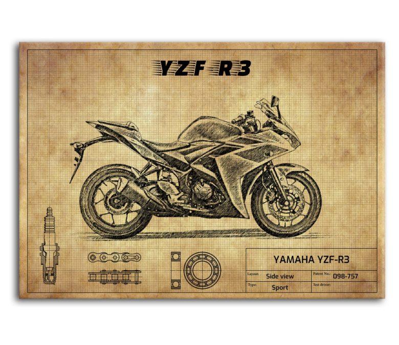 prezent dla motocyklisty plakat z YAMAHA YZF-R3