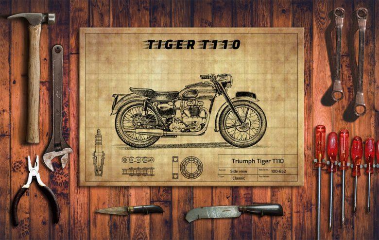 Metalowy plakat do garażu Triumph Tiger T110