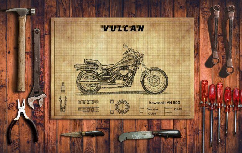 Metalowy plakat do garażu Kawasaki VN 800
