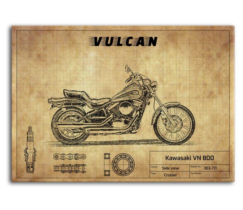 prezent dla motocyklisty plakat z Kawasaki VN 800