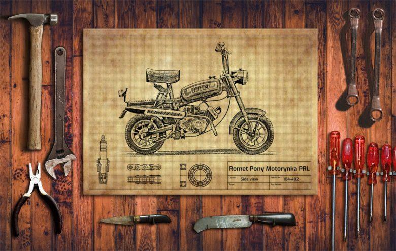 Metalowy plakat do garażu Romet Pony Motorynka PRL