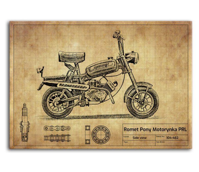 prezent dla motocyklisty plakat z Romet Pony Motorynka PRL