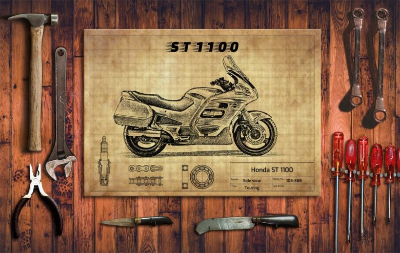 Metalowy plakat do garażu Honda ST 1100